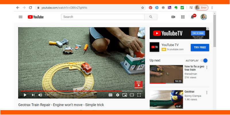 Another life lesson: Use it or lose it. This photo of a YouTube video illustrates how to fix a Geotrax train.
