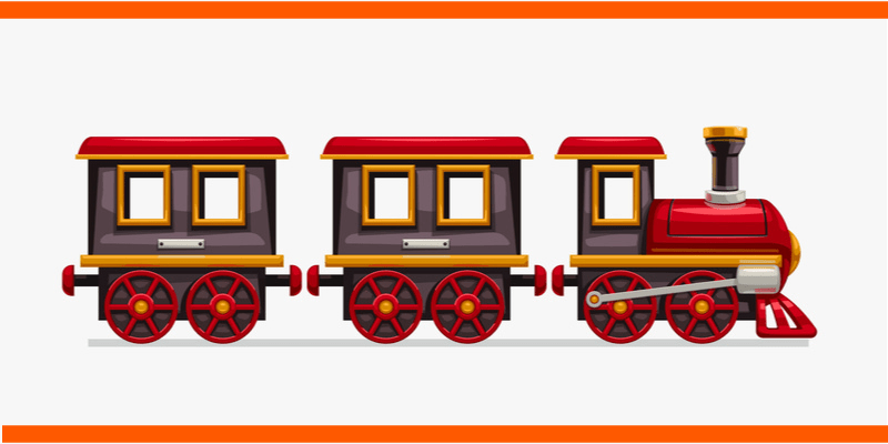 A colorful children's toy train, one of the key ingredients for fun in the Hunger Trains game.