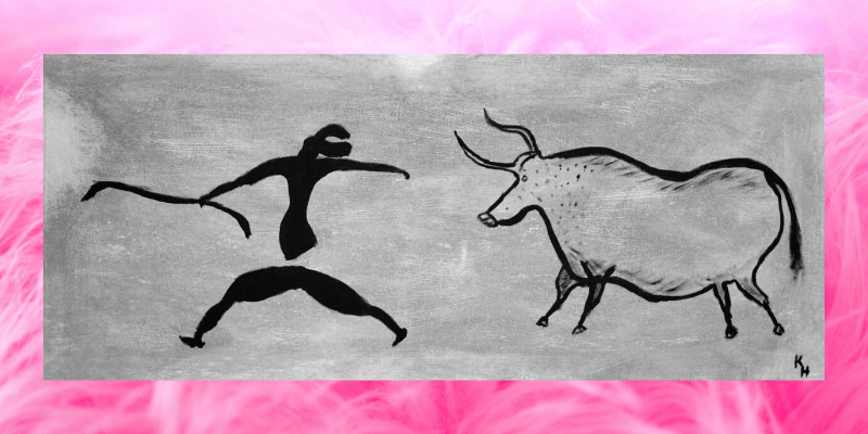 A cave drawing shows a stick figure being chased by a bull.  The image is bordered with pink faux fur.
