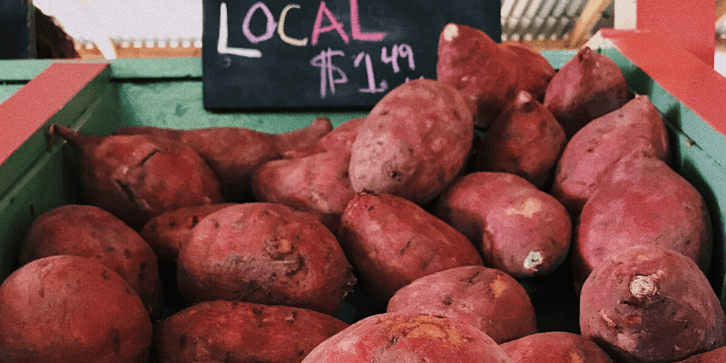A bin filled with sweet potatoes at a local market, the main ingredient in Frankie yam and honey lube!